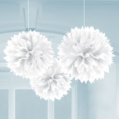 3 Fluffy Decorations White