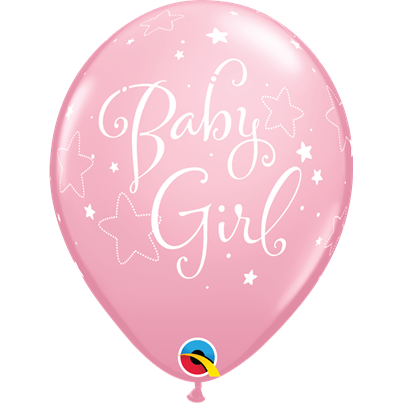 Baby Girl Stars Pink 6pk with Helium