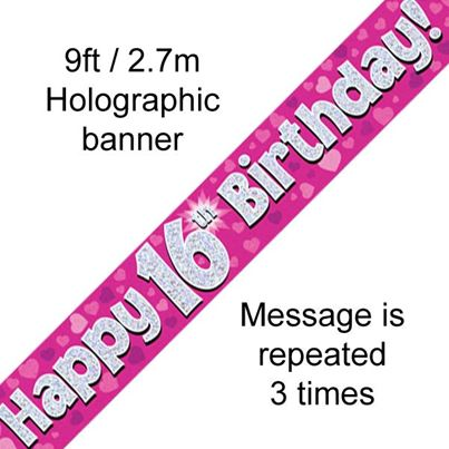 Happy 16th Birthday Banner Pink