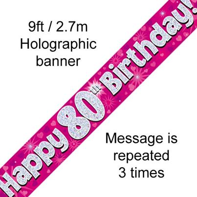 Happy 80th Birthday Banner Pink