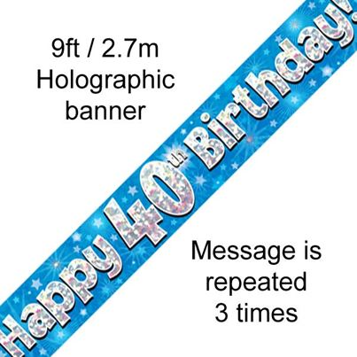 Happy 40th Birthday Banner Blue