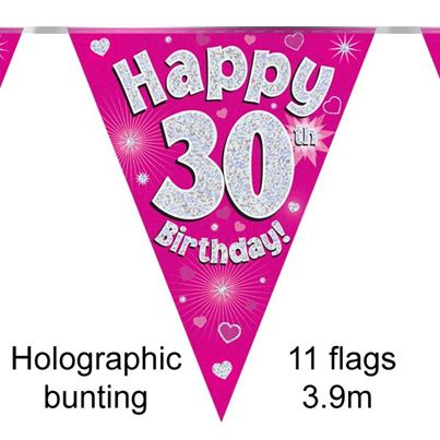 Happy 30th Birthday Bunting Pink