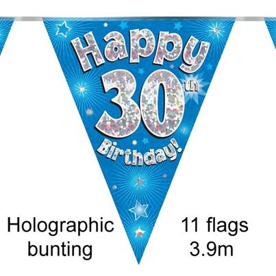 Happy 30th Birthday Bunting Blue