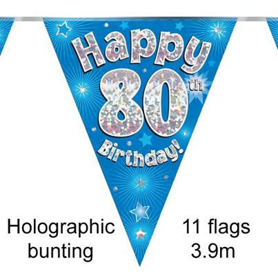 Happy 80th Birthday Bunting Blue