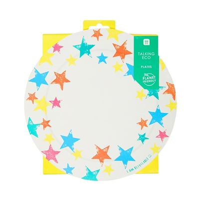 Talking Tables Planet-Friendly Rainbow Star Plates 12pk