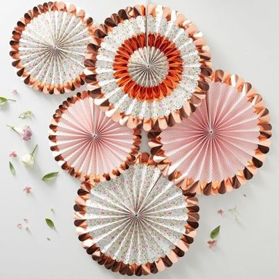 Rose Gold Floral Fan Decorations