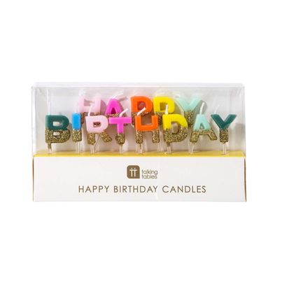 Talking Tables 'Happy Birthday' Rainbow Candles