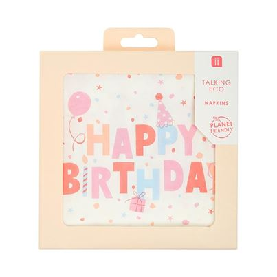 Talking Tables Planet-Friendly Rose Birthday Napkins 20pk
