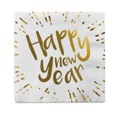 Gold Sparkle New Year Napkins 12pk