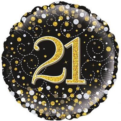 oaktree 21st Birthday Sparkling Black & Gold Foil Balloon