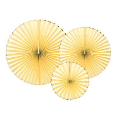 PartyDeco Light Yellow Hanging Rosettes