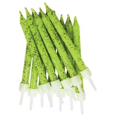 Lime Green Glitter Candles 12pk