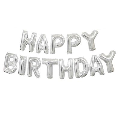 'Happy Birthday' Silver Air Fill Banner