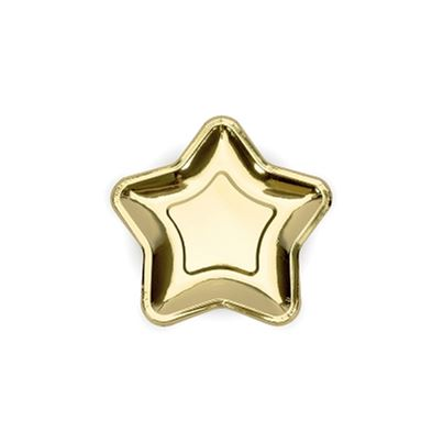Gold Star Shaped Plates 12pk
