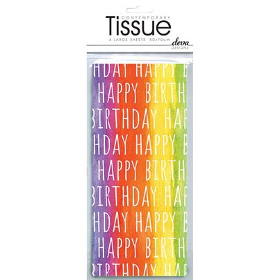 A Party Palace 'Happy Birthday' Rainbow Tissue 4pk